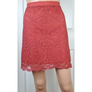 NWT Band of gypsies lace scallop dusty rose skirt